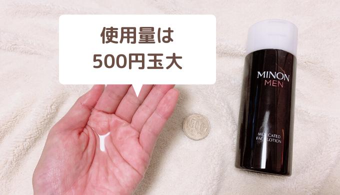 ミノンメン化粧水の使用量